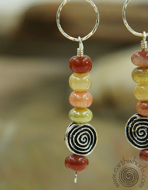 Chakra Mixed Stone & Sterling Silver Earrings - EarthWhorls, LLC