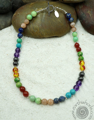 Chakra Mixed Stone & Sterling Silver Choker Length Necklace - EarthWhorls, LLC
