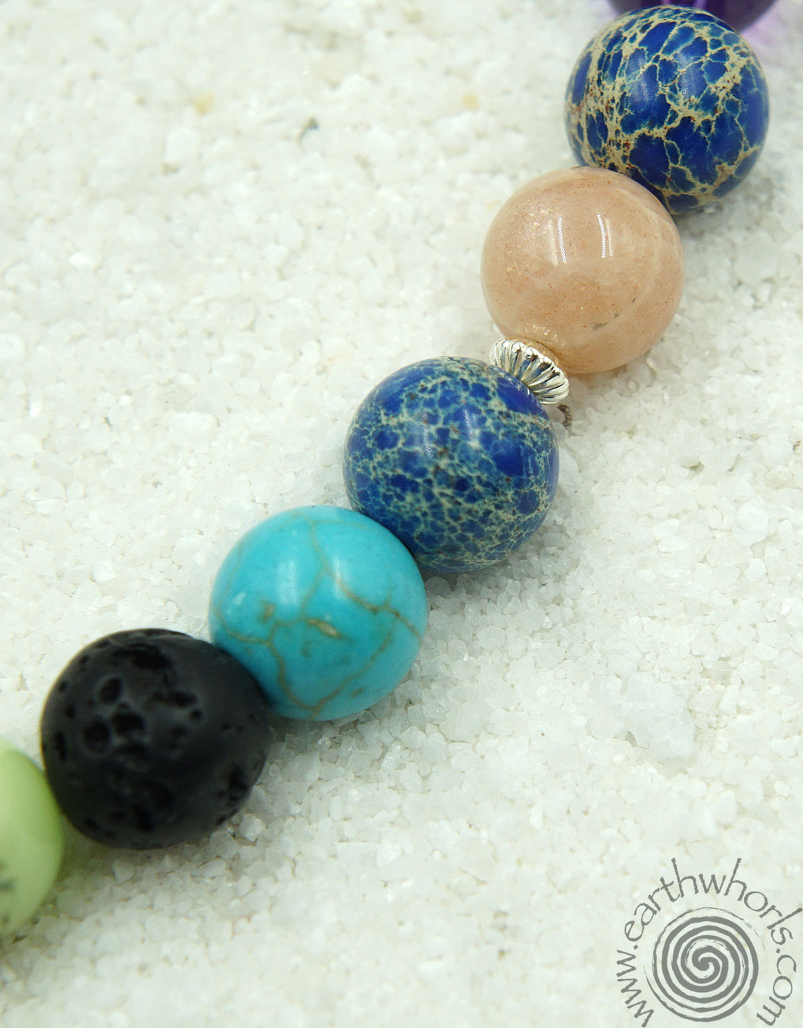 Chakra Mixed Stone & Sterling Silver Short Necklace - EarthWhorls, LLC