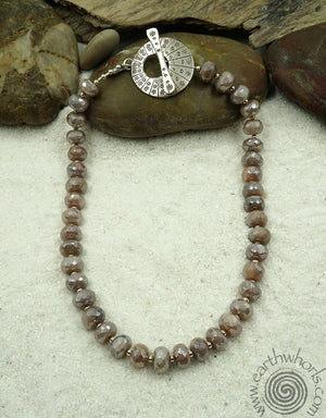 Moonstone & Sterling Silver Short Necklace - EarthWhorls, LLC
