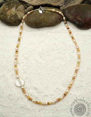 Mixed Fresh Water Pearl & Sterling Silver Necklace - EarthWhorls, LLC
