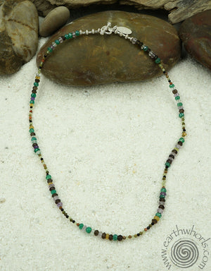 Mixed Chakra Stones & Sterling Silver Necklace