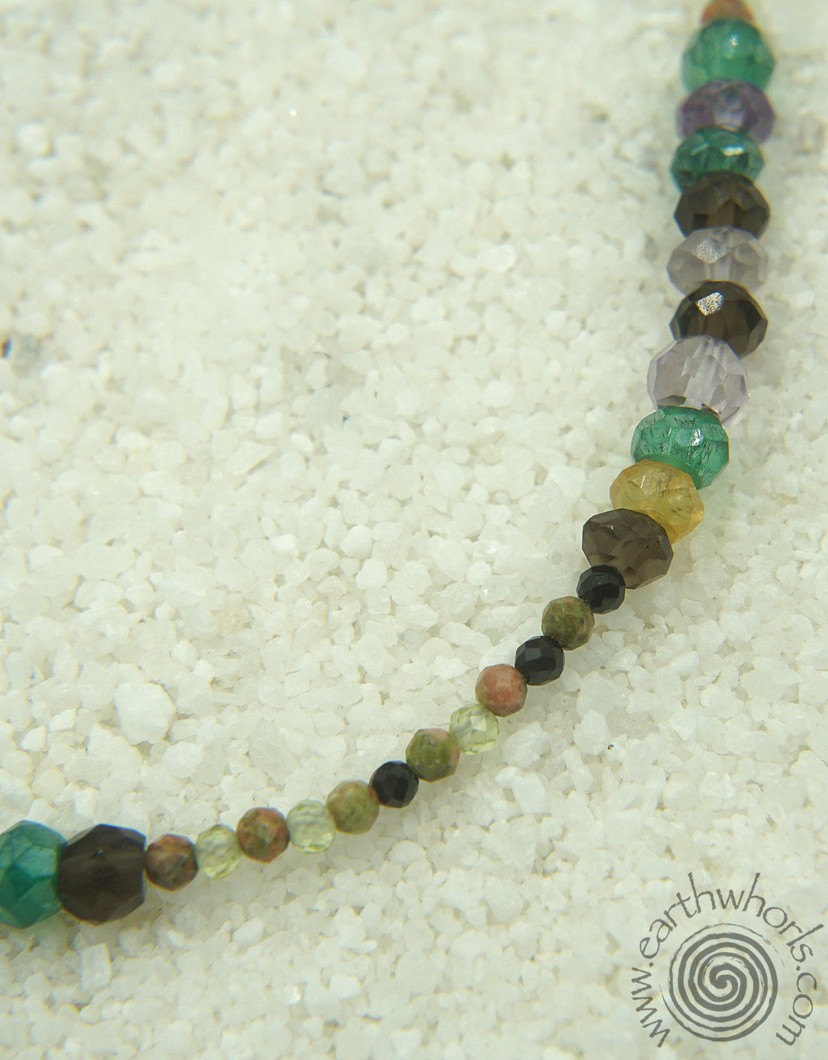 Mixed Chakra Stones & Sterling Silver Necklace - EarthWhorls, LLC
