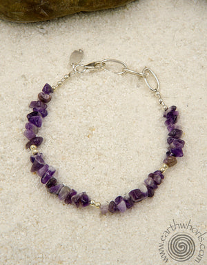 Amethyst & Sterling Silver Raw Cut Stone Bracelet - EarthWhorls, LLC