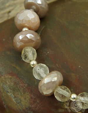 Moonstone & Sterling Silver Adjustable Bracelet - EarthWhorls, LLC