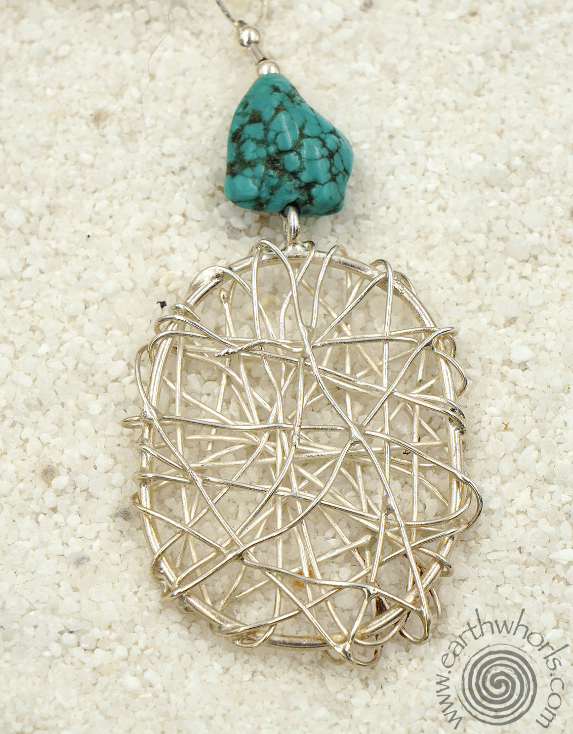 Turquoise & Sterling Silver Pendant Necklace - EarthWhorls, LLC