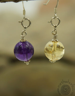 Versatile, Changeable Three-Stone & Sterling Silver Earrings