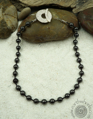 Hematite & Sterling Silver Boho Chic Necklace - EarthWhorls, LLC