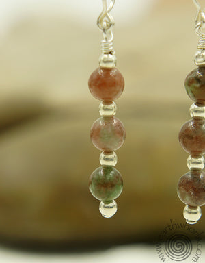 Kashgar Garnet & Sterling Silver Earrings - EarthWhorls, LLC