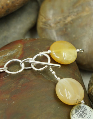 Botswana Agate & Sterling Silver Adjustable Bracelet - EarthWhorls, LLC