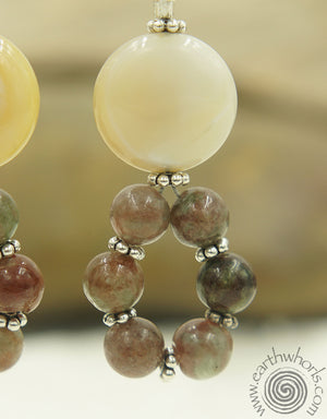 Garnet, Botswana Agate & Sterling Silver Boho Style Earrings - EarthWhorls, LLC