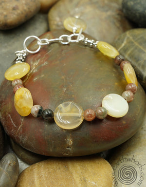 Agate, Garnet & Sterling Silver Adjustable Bracelet - EarthWhorls, LLC
