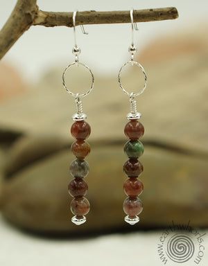 Kashgar Garnet & Sterling Silver Drop Earrings - EarthWhorls, LLC