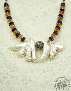 Fresh Water Oriental Pearls, Ctrine, Amethyst & Sterling Silver Necklace - EarthWhorls, LLC
