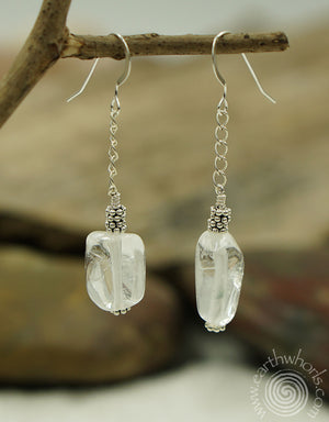 Fluorite & Sterling Silver Boho Style Earrings - EarthWhorls, LLC