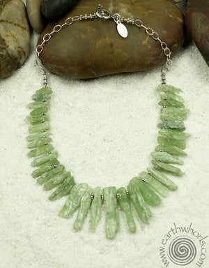 Green Kyanite, Raw Stone & Sterling Silver Necklace - EarthWhorls, LLC