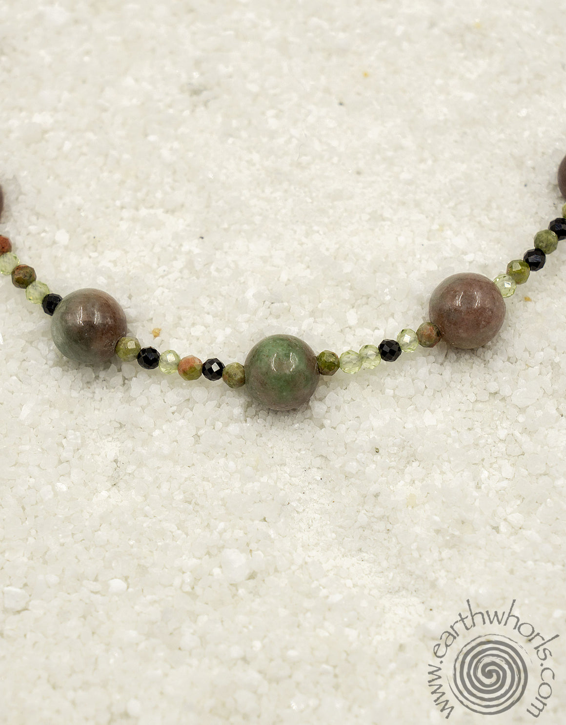 Mixed Stone, Natural Element & Sterling Silver Necklace - EarthWhorls, LLC