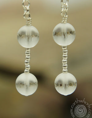 Fluorite & Steling Silver Drop Earrings - EarthWhorls, LLC