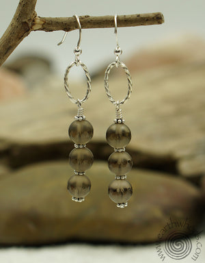 Fluorite & Sterling Silver Three Stone Earrings - EarthWhorls, LLC