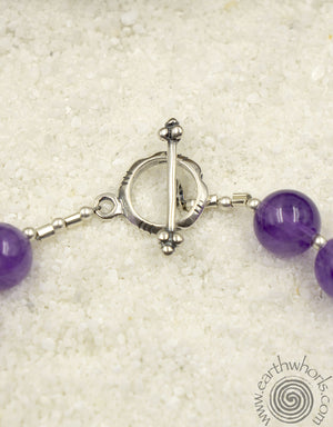 Deep Purple Amethyst & Sterling Silver Bracelet - EarthWhorls, LLC