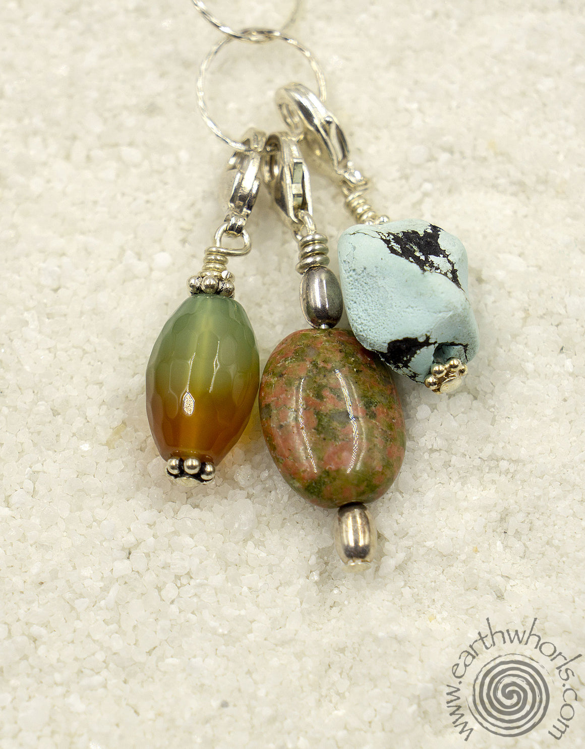 Mixed Stone Pendant & Sterling Silver Necklace - EarthWhorls, LLC