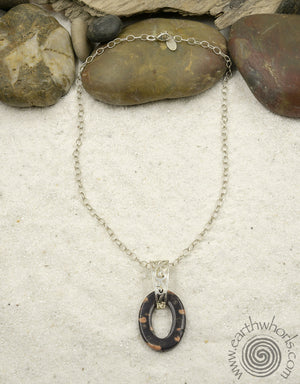 Gemstone, Oval Dougnut Shaped Pendant & Sterling Silver Necklace - EarthWhorls, LLC