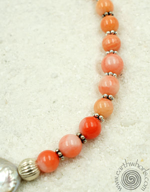 Bamboo Coral & Sterling Silver Necklace - EarthWhorls, LLC