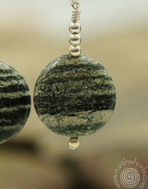 Striped Agate & Sterling Silver Natural Stone Earrings - EarthWhorls, LLC
