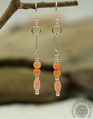 Bamboo Coral & Sterling Silver All Season Earrings - EarthWhorls, LLC