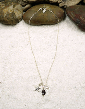 """I Love the Sea"" Garnet & Sterling Silver Charm Pendant Necklace - EarthWhorls, LLC"