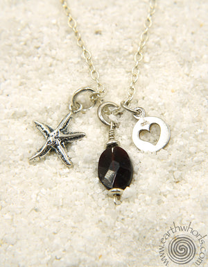 """I Love the Sea"" Garnet & Sterling Silver Charm Pendant Necklace"