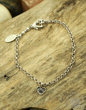 """I Love You"" Double Heart, Sterling Silver Bracelet - EarthWhorls, LLC"