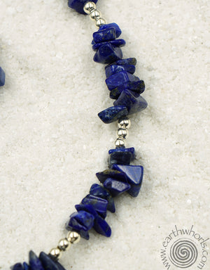Lapis Lazuli & Sterling Silver Long Necklace - EarthWhorls, LLC