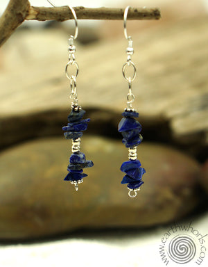 Lapis Lazuli & Sterling Silver Long Drop Earrings