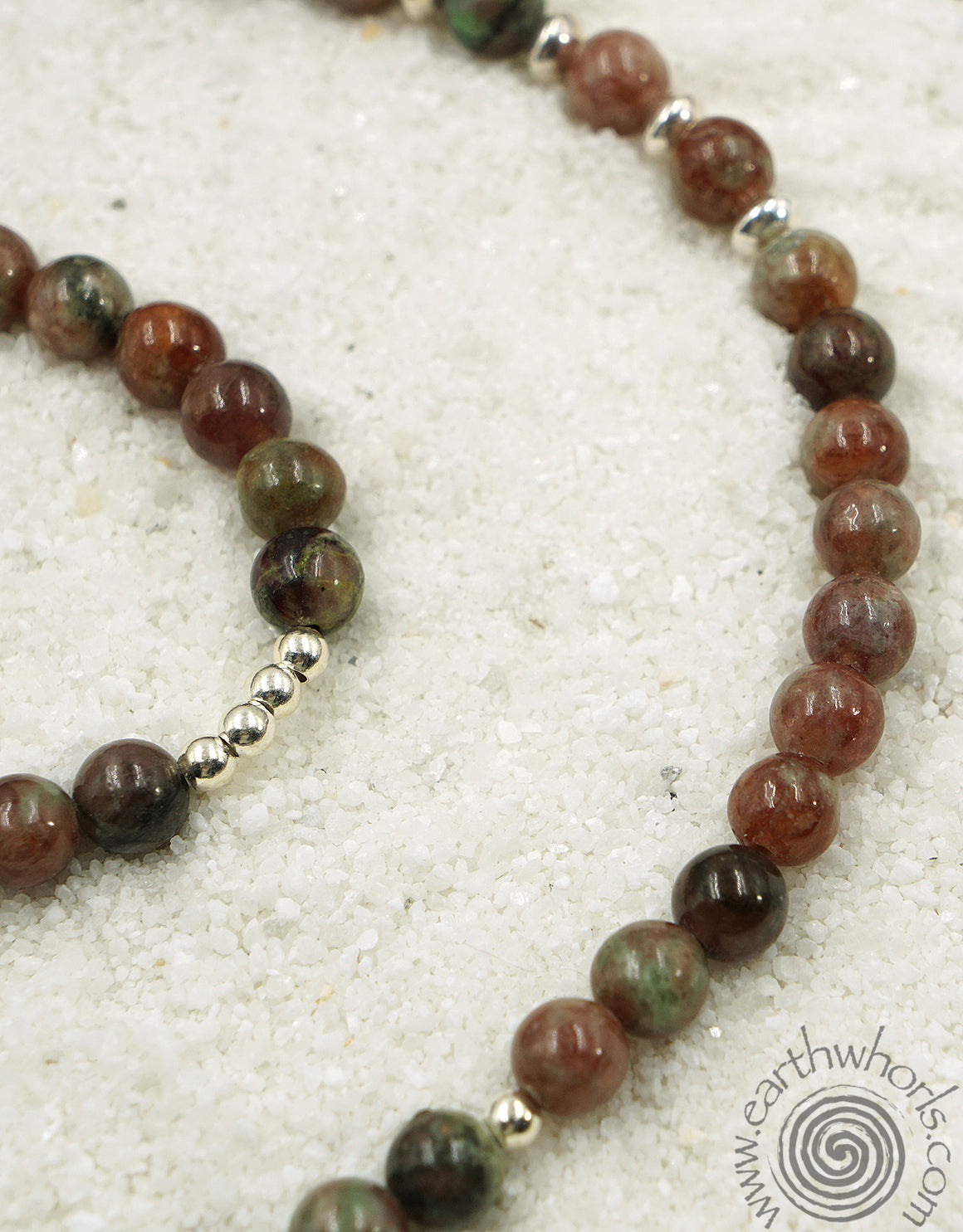 Kashgar Garnet & Sterling Silver Long Boho Style Necklace - EarthWhorls, LLC