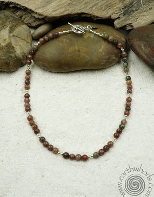 Kashgar Garnet & Sterling Silver Short Boho Style Necklace - EarthWhorls, LLC