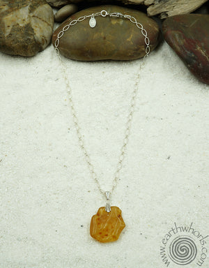 Amber Pendant & Sterling Silver Necklace - EarthWhorls, LLC