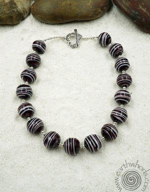Murano Glass, Handmade Italian Bead & Sterling Silver Chunky Style Necklace - EarthWhorls, LLC