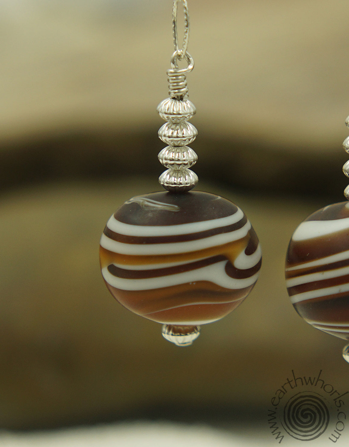 Italian, Murano, Handmade Glass & Sterling Silver Drop Earrings - EarthWhorls, LLC