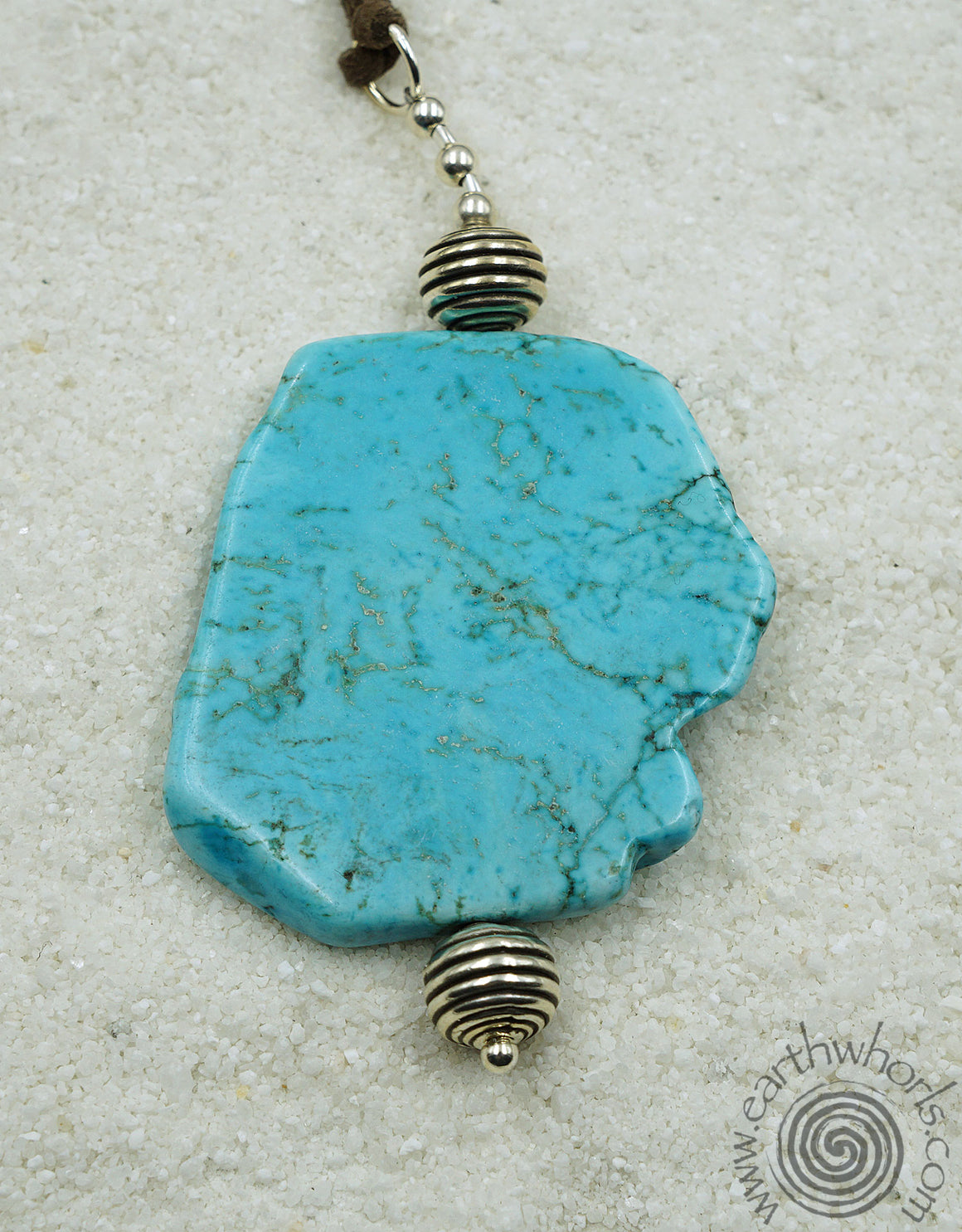 Turquoise & Vegan Leather Pendant Necklace