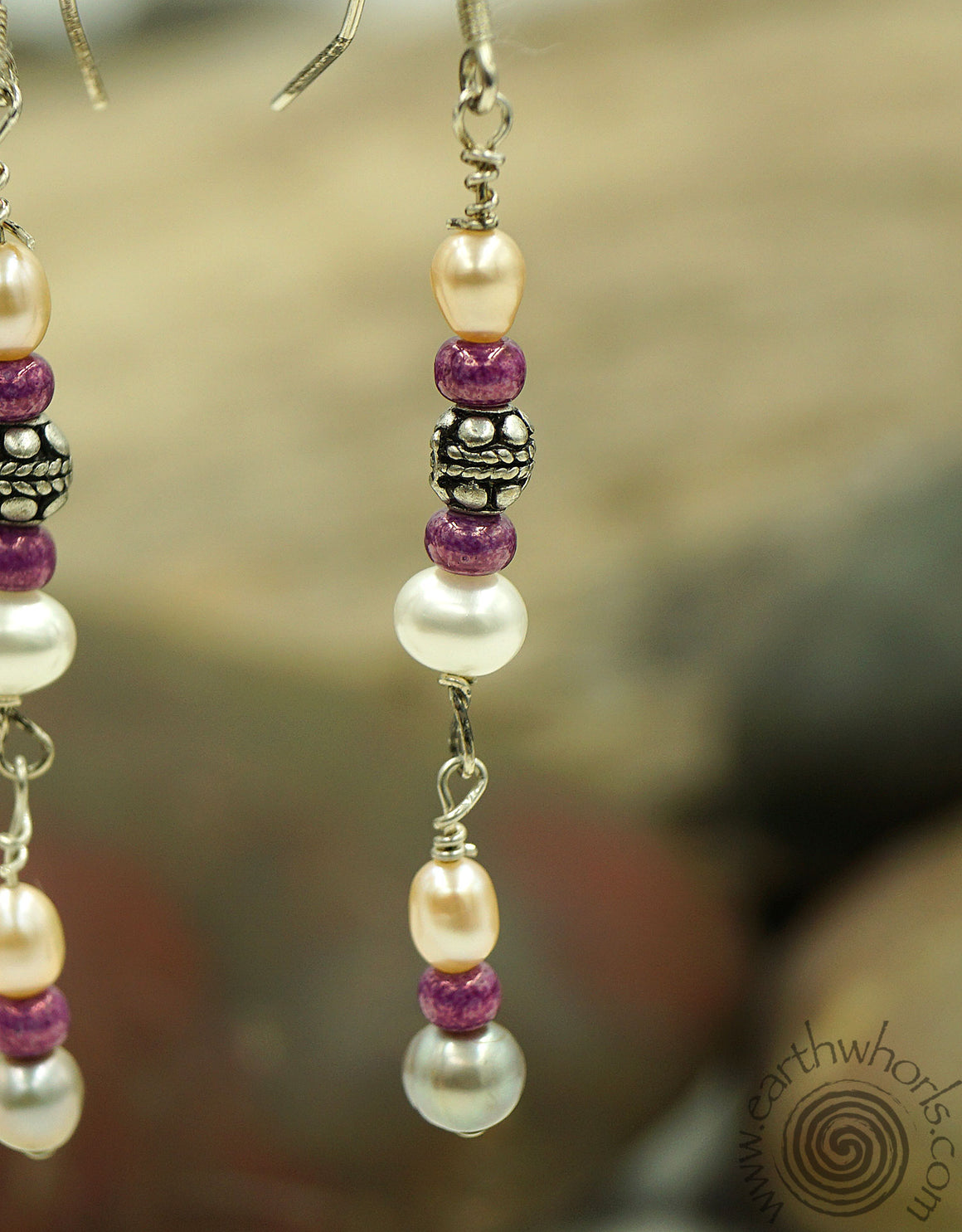 Fresh Water Pearls & Sterling Silver Drop Earrings - EarthWhorls, LLC