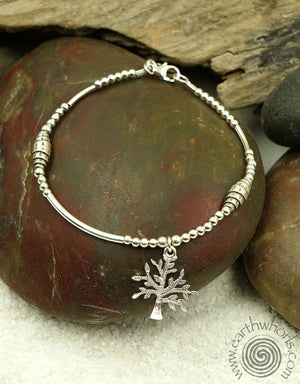 "A ""Tree of Life"" Single Charm Sterling Silver Bracelet - EarthWhorls, LLC"