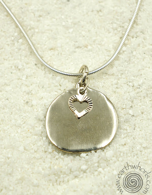Sterling Silver Round Pendant with Sterling Silver Heart Necklace