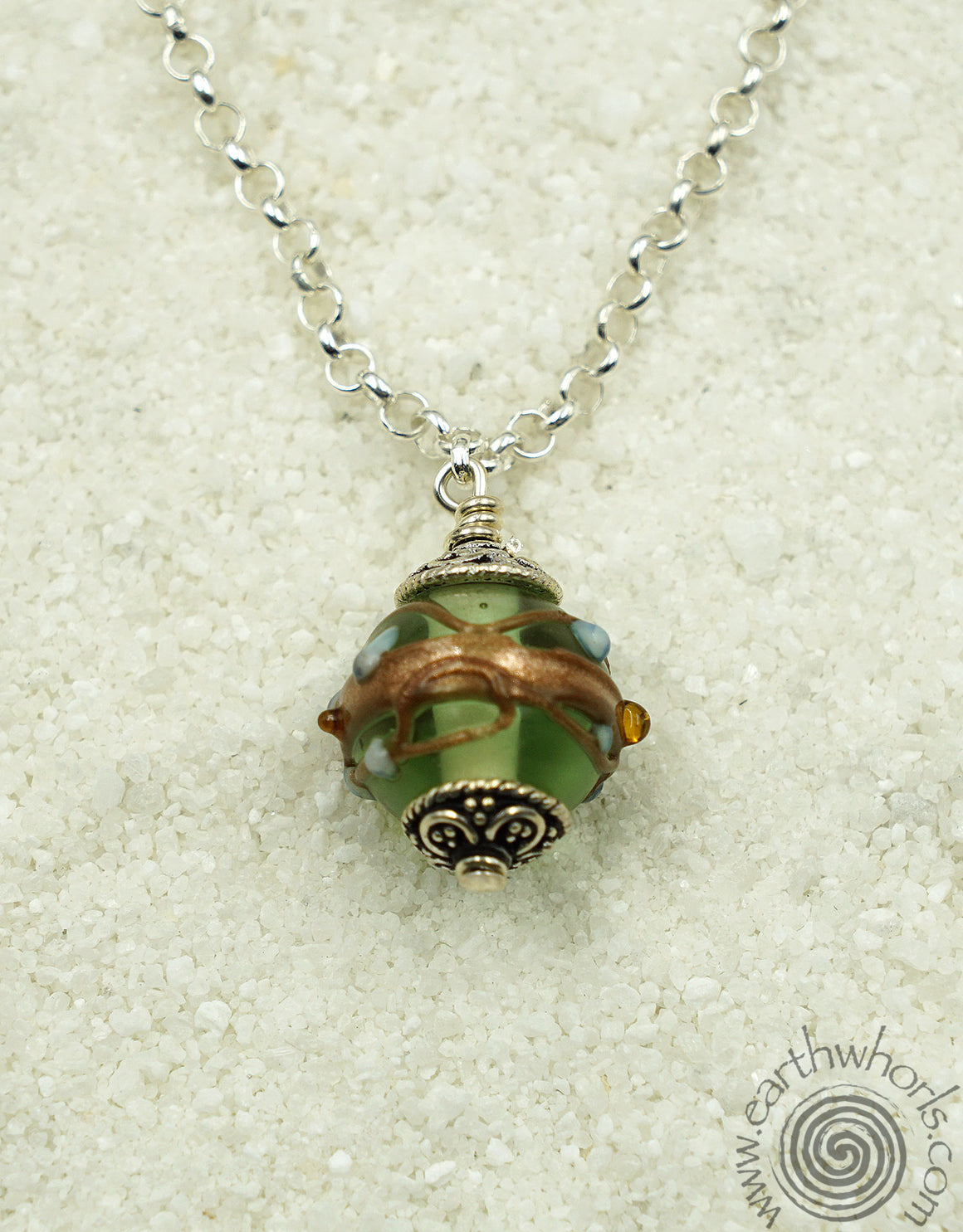 Handmade Glass & Sterling Silver Delicate Pendant Necklace - EarthWhorls, LLC