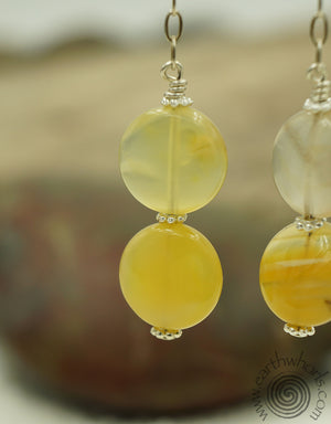 Yellow Jade & Sterling Silver Earrings