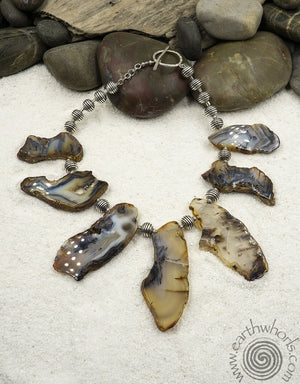 """Slab"" Agate & Sterling Silver Raw Stone Necklace - EarthWhorls, LLC"