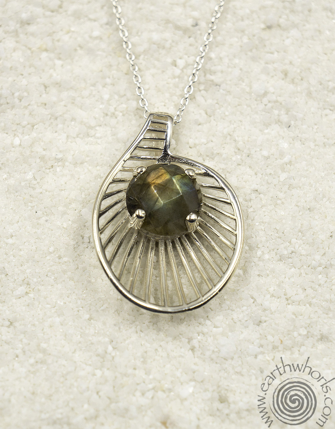 Sterling Silver & Moonstone Pendant Necklace - EarthWhorls, LLC
