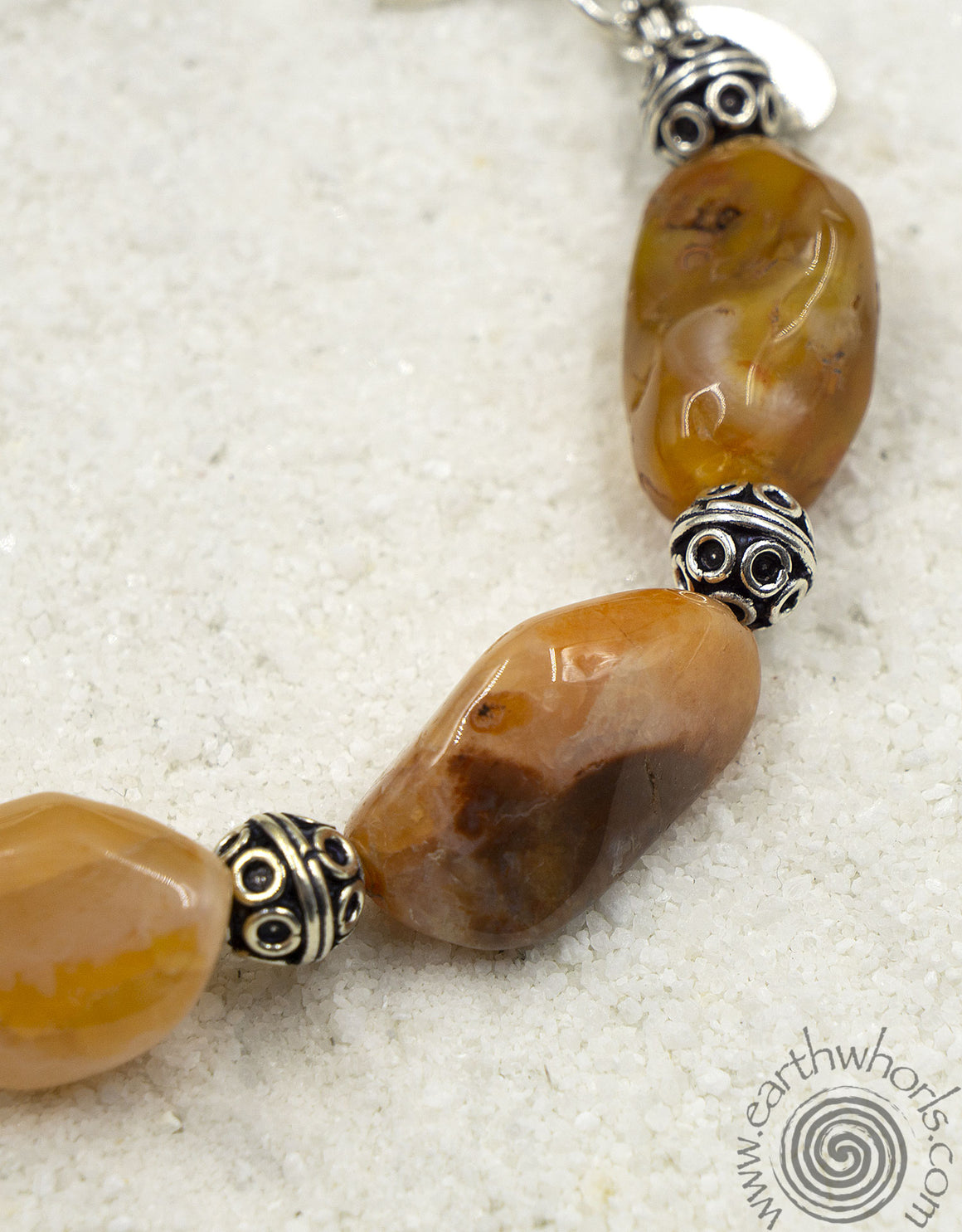 Raw Stone Agate & Sterling Silver Adjustable Bracelet