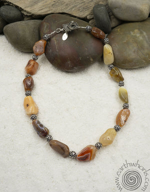Raw Stone Agate & Sterling Silver Choker Necklace