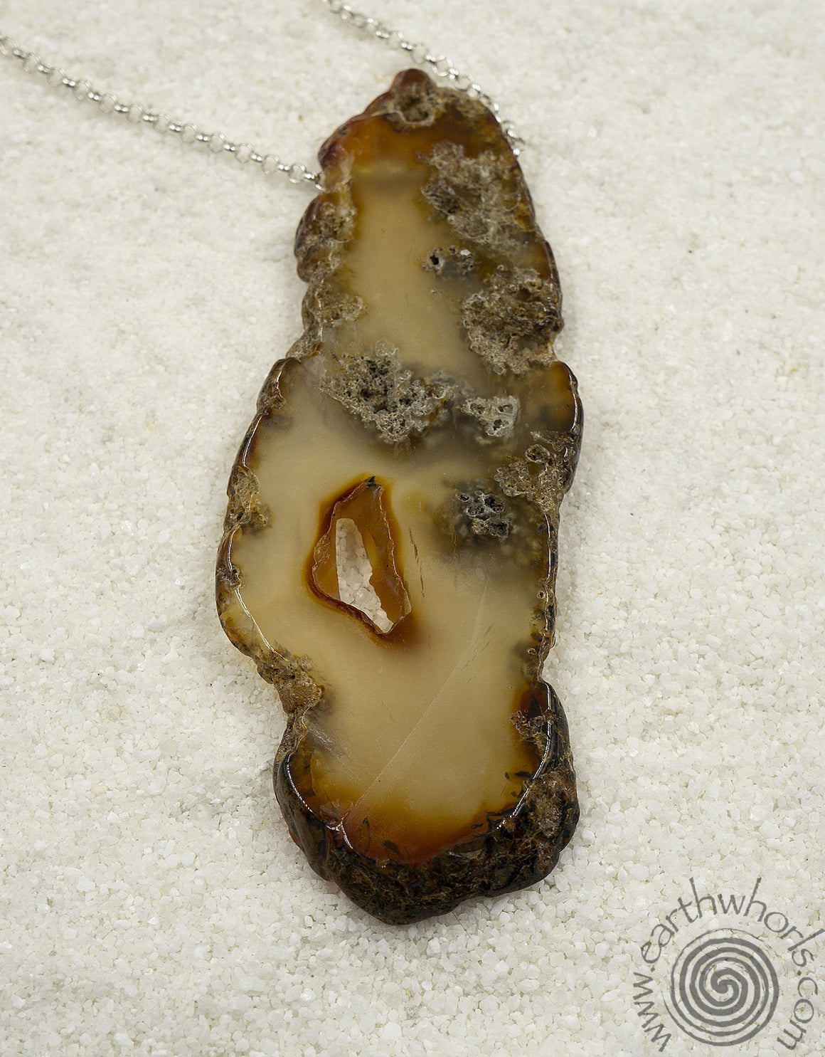 Slab Agate & Sterling Silver Natural Beauty Pendant Necklace